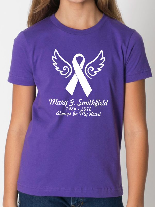 4ab40c189 Custom Memorial Cancer Awareness Ribbon Ladies Fitted Angel Name T-Shirt -  $21.99+ each - T-Shirts & Hoodies - In Loving Memory Car Window Decals