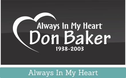 Always In My Heart is a new memorial car window decal concept thought up by our great in house, in loving memory decal, design team