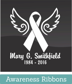 Get a personalized Loving Memorial car window Ribbon decal to remember your loved one