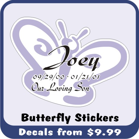 These Printed Butterfly Decals and Stickers are an exclusive memorial car window decal design only found at In Loving Memory Decal