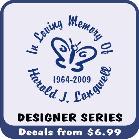 The Designer Series In Loving Memory Decal is our most popular product with may icons to express your loved ones personality.
