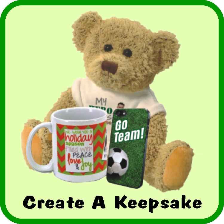 Create a custom personalized memorial keepsake or gift including a plush teddy bear, iPhone cover, or a great photo mug.