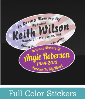 These Printed, In Loving Memory, Memorial Stickers are available at great quantity discounts. Perfect when buying In Memory Decals or stickers for a large group