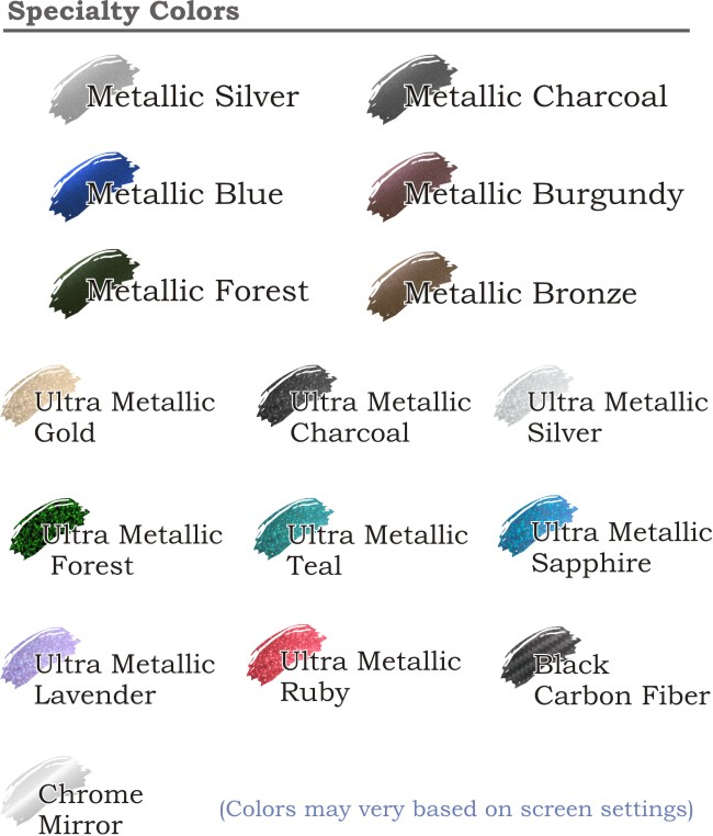 Metallics and specialty Memorial Decal Color Chart